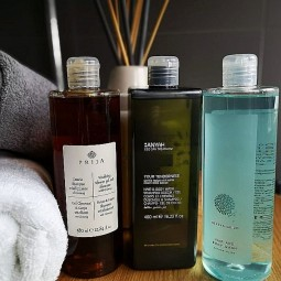 Kosmetyki w zestawie, Prija, Anyah i Geneva, kosmetyki hotelowe pod prysznic - Prija 380 ml, Geneva 380 ml, Anyah 480 ml