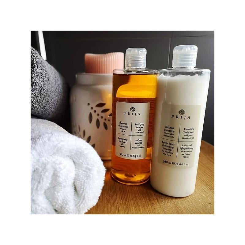 Kosmetyki hotelowe, szampon do włosów z rukolą i odżywka - Prija, 2 x 380 ml.