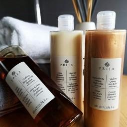 Prija kosmetyki hotelowe w komplecie, balsam do ciała, żel pod prysznic i płyn do kąpieli  płynie - Prija, 3 x 380 ml.